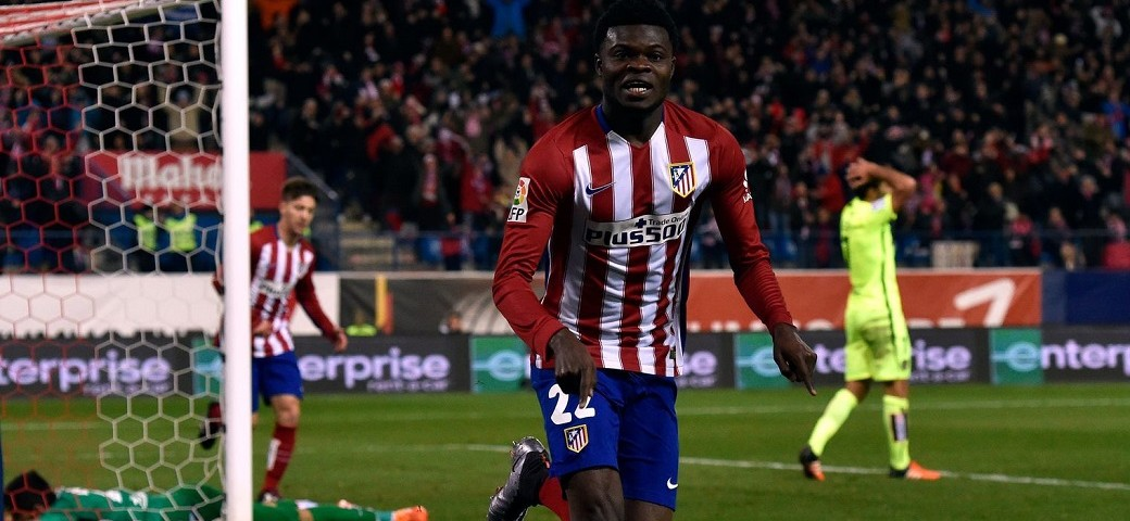 Ghana's Thomas Partey celebrates debut goal for Atletico Madrid