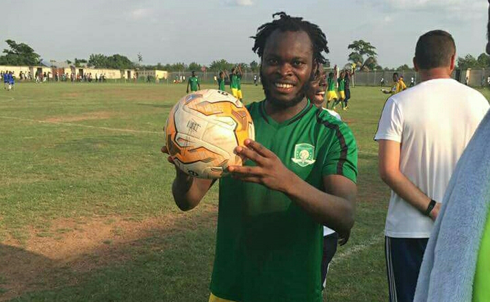 Yahaya Mohammed with hattrick ball