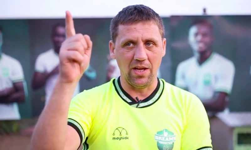 Dreams FC coach Vladislav Viric congratulates Great Olympics after defeat